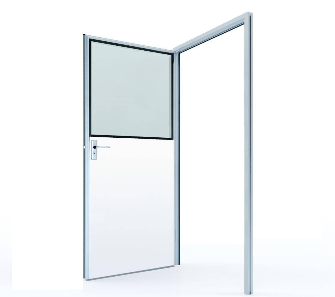 #50 Half glass swing door with colored GI panel (door leaf thickness 50mm)